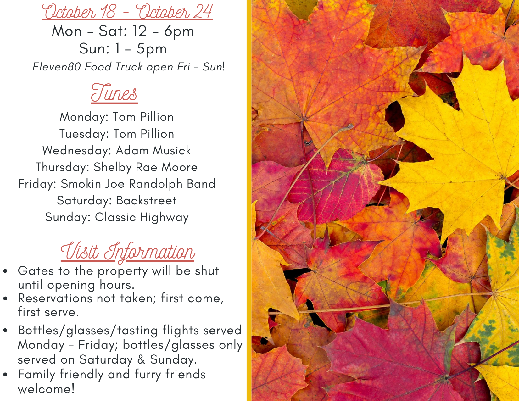 live music schedule at grandfather vineyard october 18-24